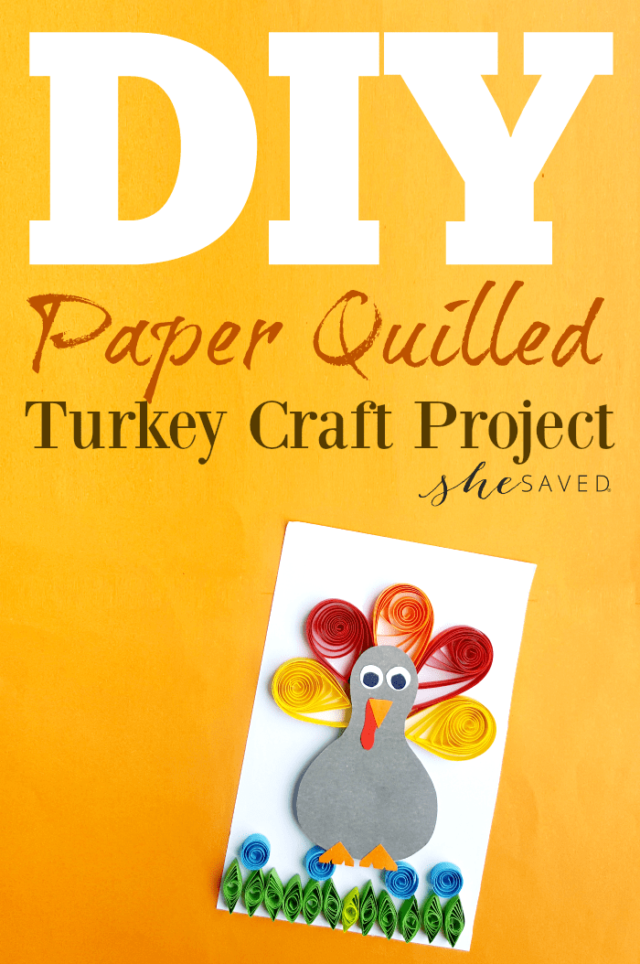 Thanksgiving Paper Quilling Project: Quilled Turkey Craft from All Because She Saved.