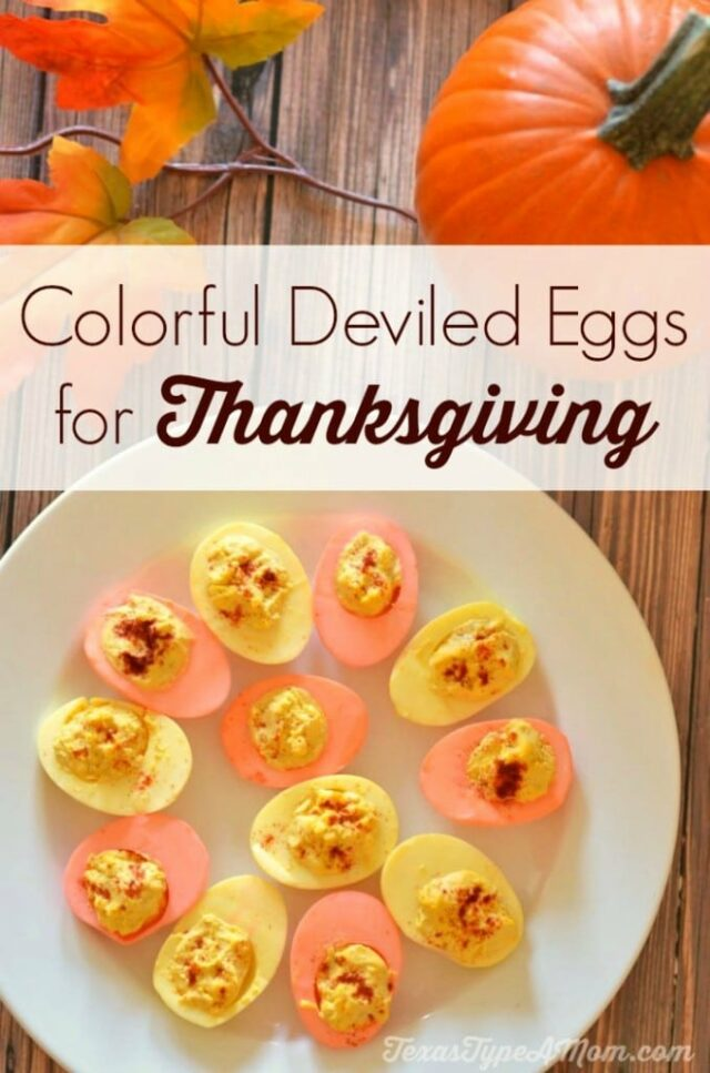 Colorful Deviled Eggs Recipe for Thanksgiving from Live Love Texas.