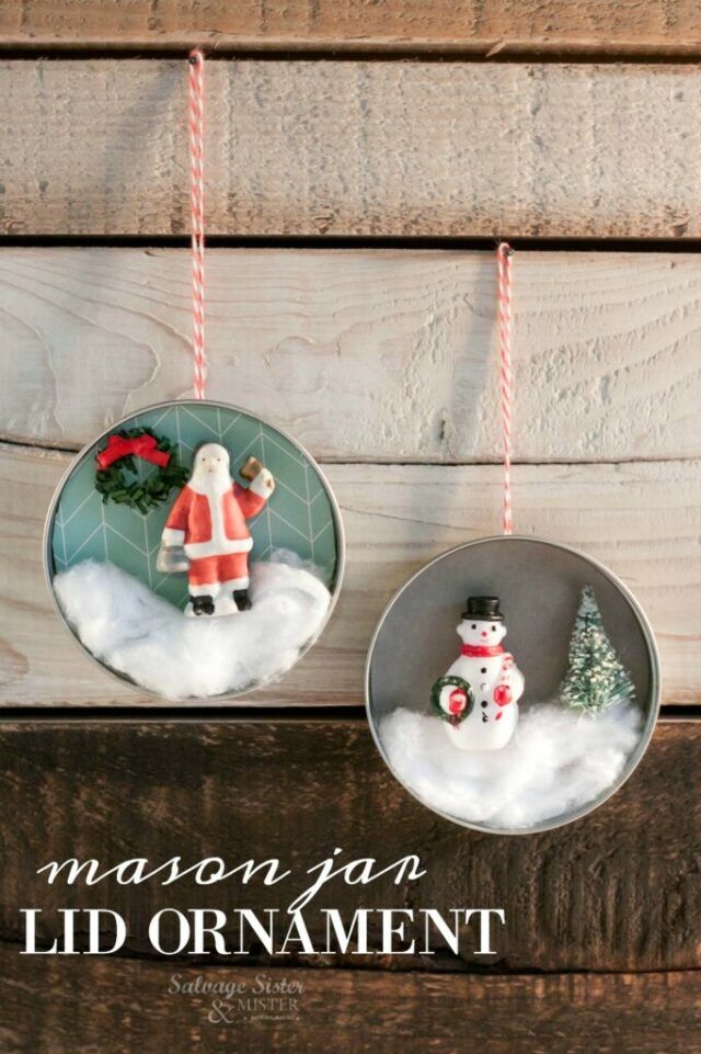 Mason Jar Lid Ornament Craft from Salvage Sister & Mister.