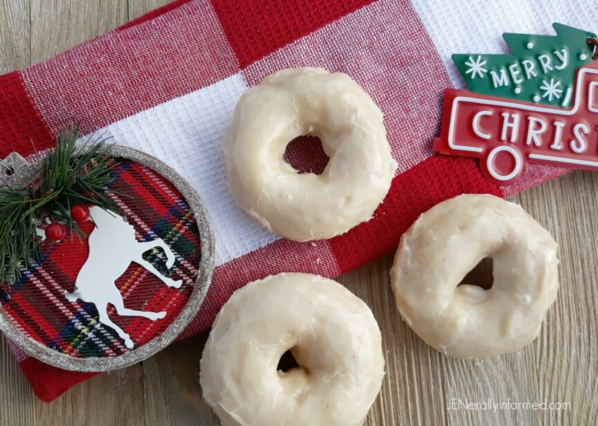 Easy to make eggnog doughnuts with a deliciously dreamy and creamy eggnog frosting!
