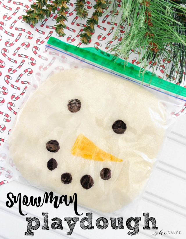 DIY Snowman Playdough Craft from All Because She Saved.