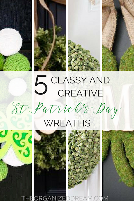 5 Classy and Creative St. Patrick's Day Wreaths from Organized Dream.