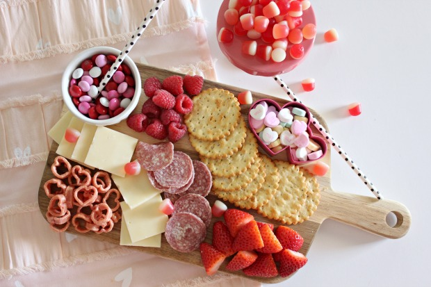 Valentine's Day Charcuterie Board + a List of Pink and Red Foods from Lindsay's Sweet World.