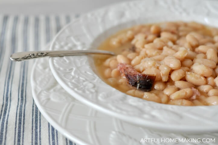 Slow Cooker Ham and Beans Easy Recipe from Artful Homemaking.