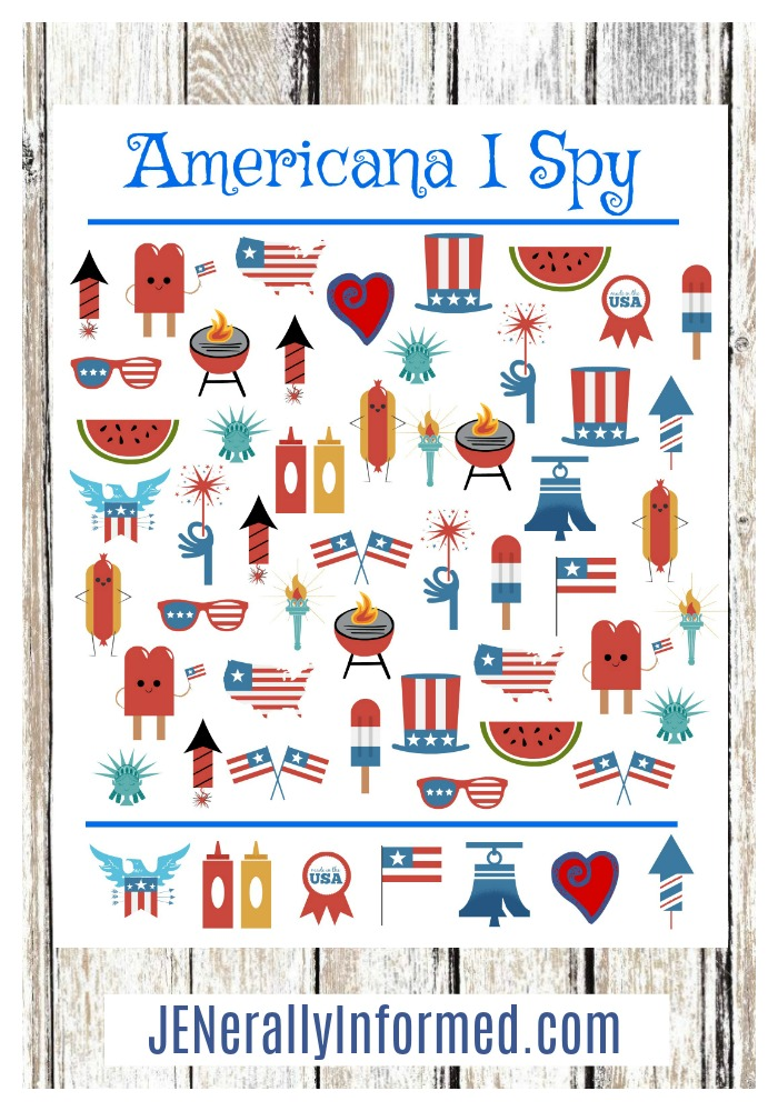 Print this adorable Americana #ISpy for your #4thofjuly celebrations! #printables