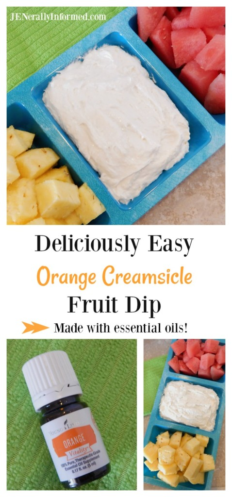 Try this deliciously easy orange creamsicle fruit dip infused with good for you essential oils!