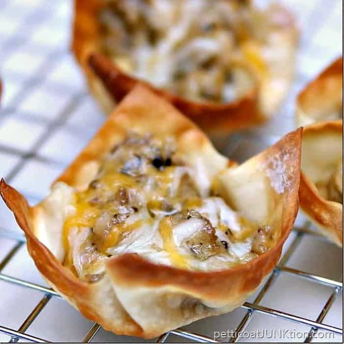 Cheesy Sausage Wontons Recipe from Petticoat Junktion.