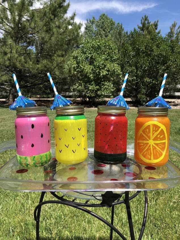 How To Make Mason Jar Fruit Glasses from Chas' Crazy Creations.