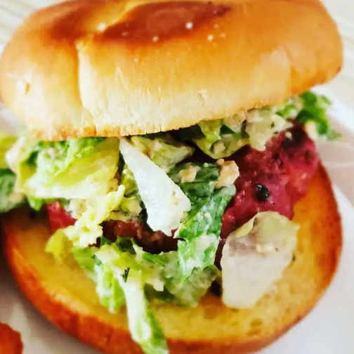 Caesar Salad Burger from Homemade on a Weeknight.