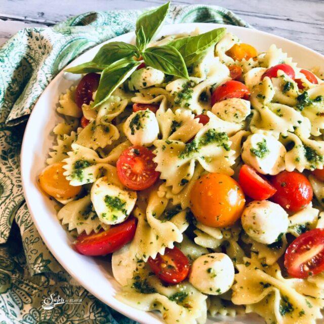 Caprese Pasta Salad from Swirls of Flavor.