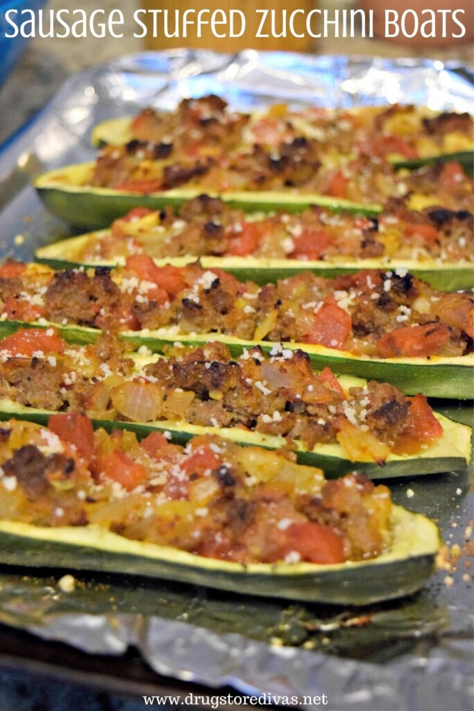 Sausage Stuffed Zucchini Boats from Drugstore Divas.