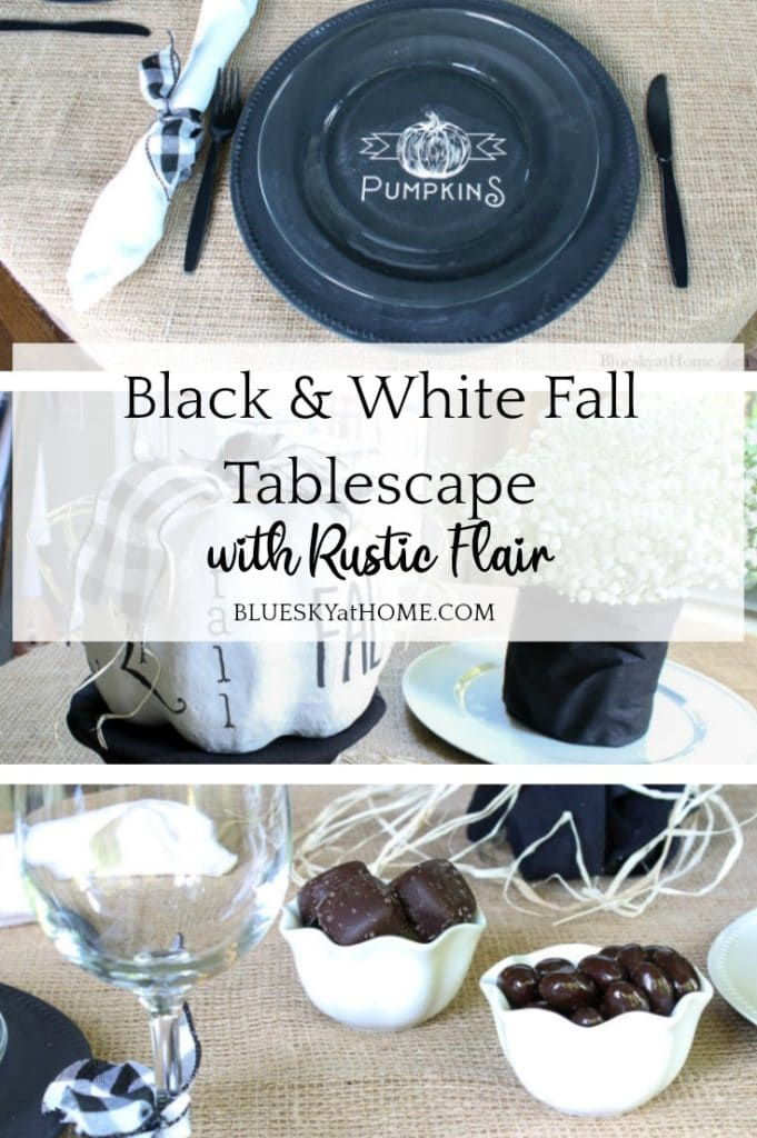Black and White Fall Tablescape with Rustic Flair from Bluesky at Home.