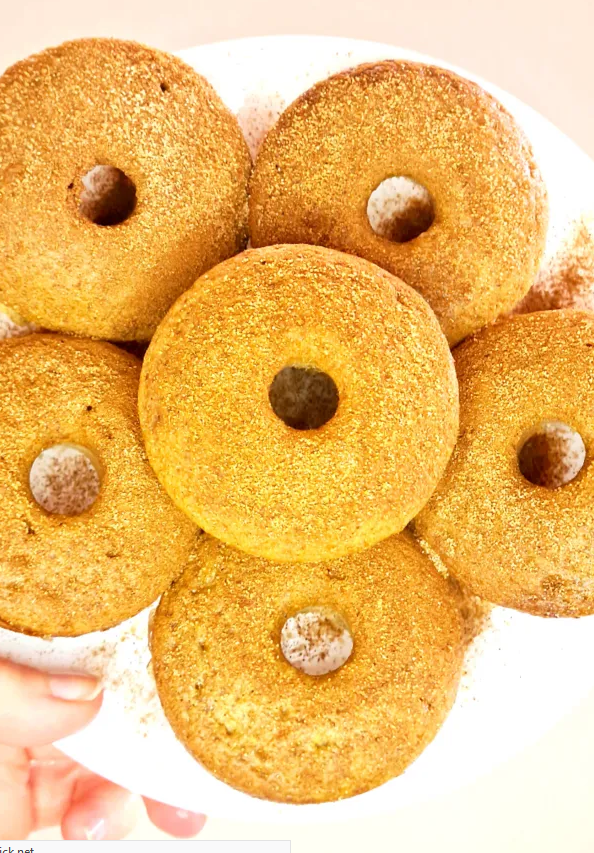 Healthy Protein Donut Recipe Cinnamon Sugar Doughnuts from Oh Clary.