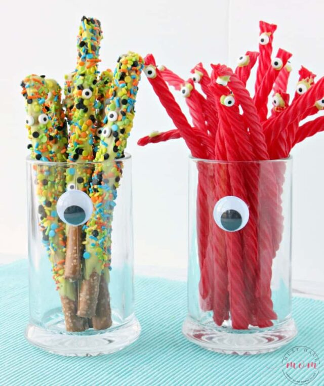 Chocolate Covered Pretzel Rods For Halloween from Must Have Mom.
