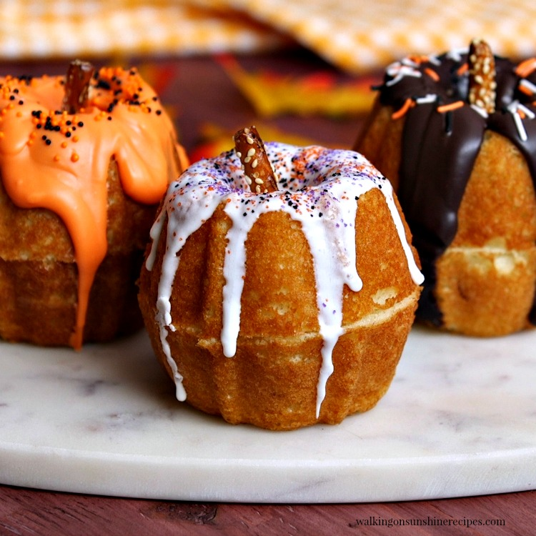 Mini Pumpkin Bundt Cakes from Walking On Sunshine.