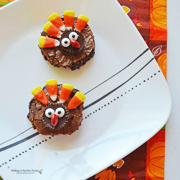 Easy Thanksgiving Turkey Brownies from Walking On Sunshine.