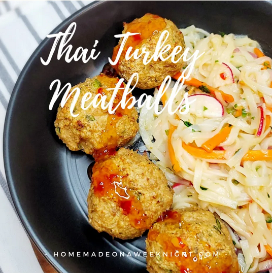 Thai Turkey Meatballs from Homemade on A Weeknight.