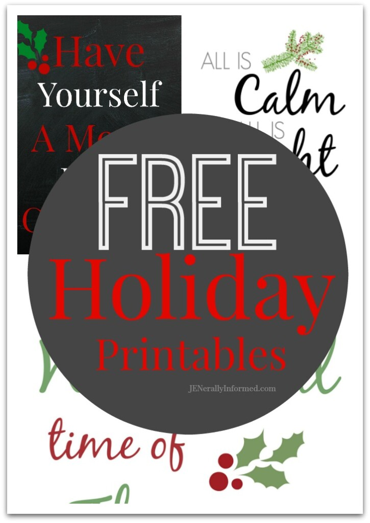 Grab one or all of these 3 free and adorable Holiday printables! Perfect for Holiday decorating or gifting!