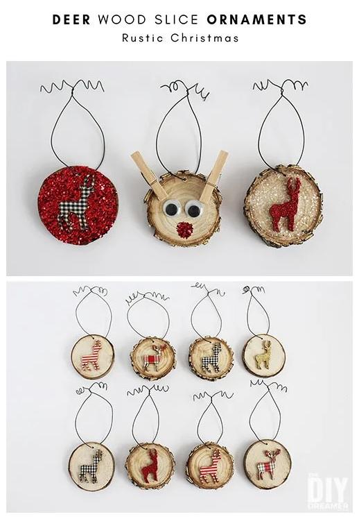 Deer Wood Slice Ornaments – Rustic Christmas from The DIY Dreamer.