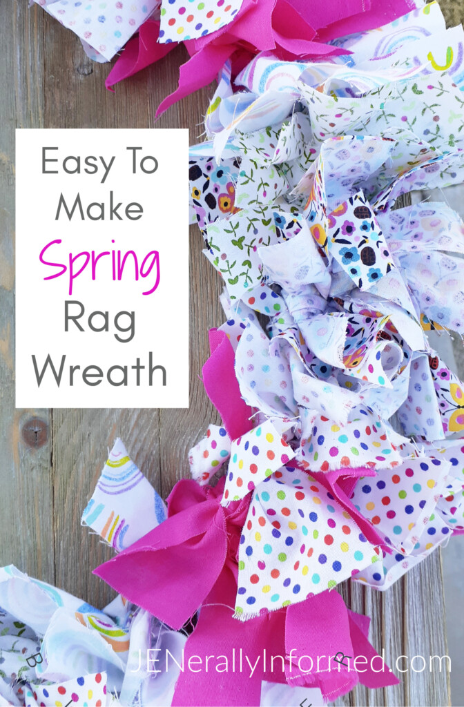 Here's how to make a super easy and cute Spring Rag Wreath for less than $10 dollars! #crafting #DIY #homedecorations