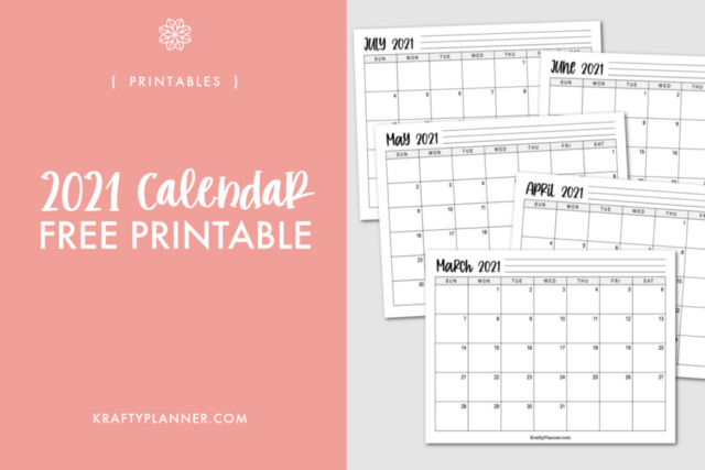 Basic 2021 Landscape Calendar {Free Printable} from Krafty Planner.