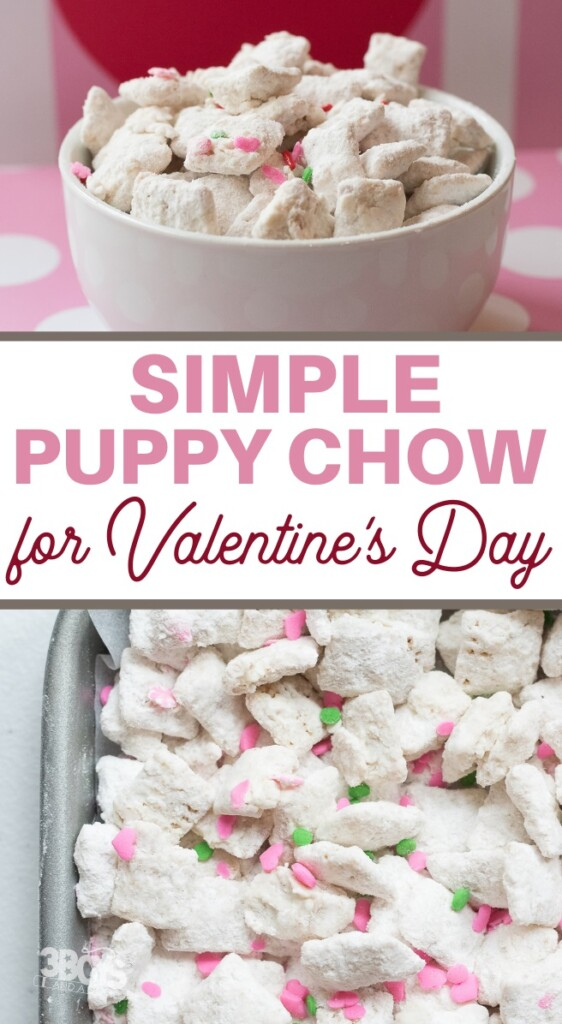 Super Sweet Valentine Puppy Chow Recipe from 3 Boys and a Dog.