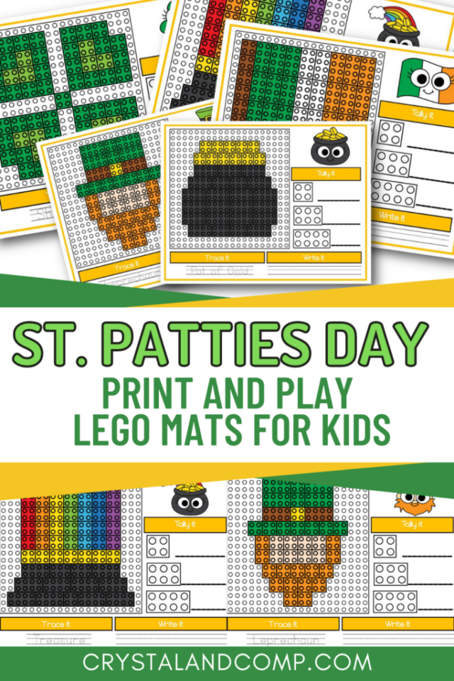 St. Patricks Day Printable Lego Builds from Crystal & Co.