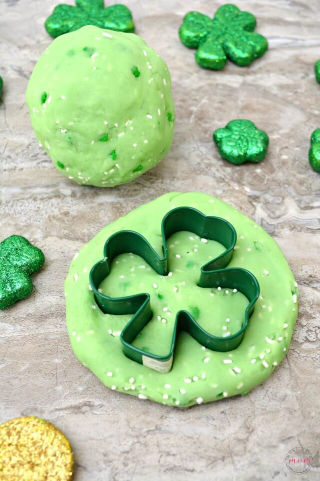 St. Patrick's Day Green Jello Playdough Recipe from Must Have Mom.