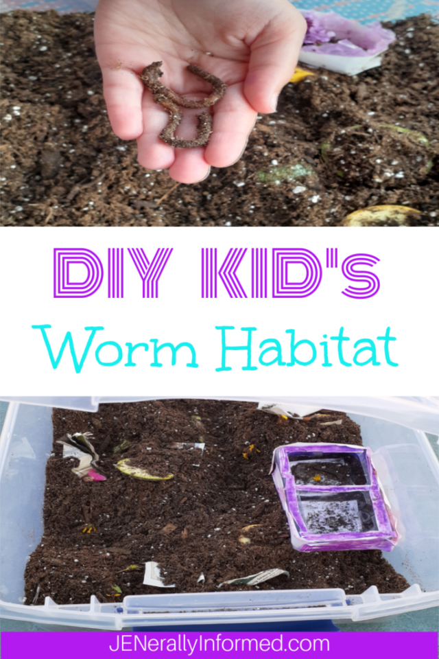 Create your own DIY earthworm habitat and teach your kiddo about environmental responsibility, science, food production, and animal care!