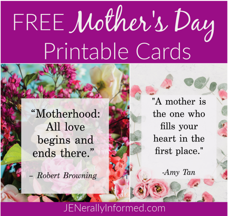 Need a card for Mother's Day? Make sure to check out these 4 free cards you can print up right at home! #mothersday #printablecards