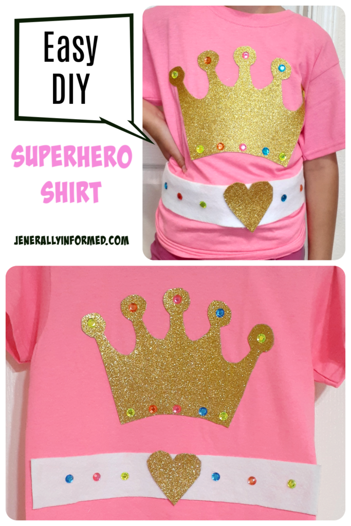 Here's how to DIY a Kid's Superhero Shirt in less than 15 minutes and with only a few materials! #superhero #diy #kids
