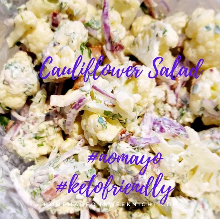 Cauliflower Salad Keto Sidedish from Homemade on A Weeknight.