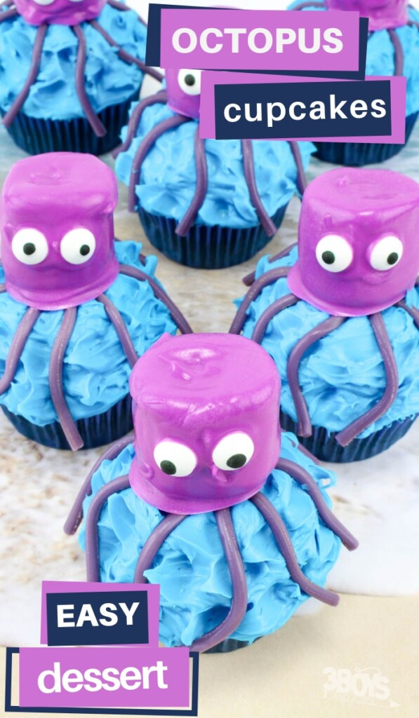 Octopus Cupcakes Recipe from 3 Boys And A Dog.