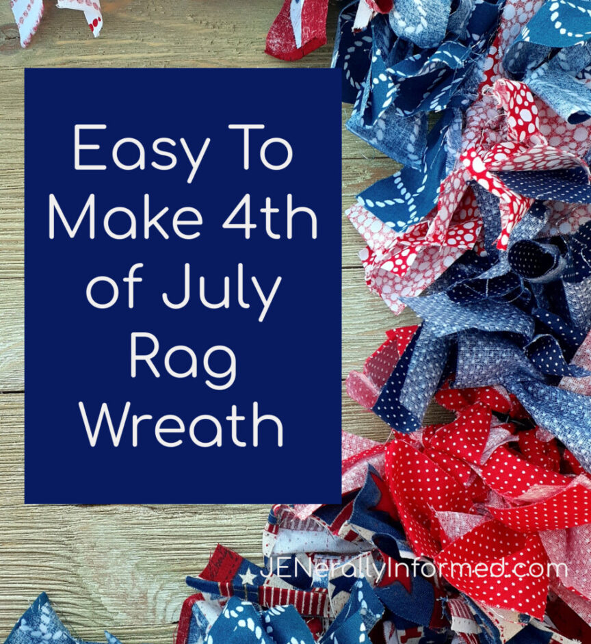 Here's how to make a super easy and cute 4th of July Rag Wreath for less than $10 dollars! #crafting #DIY #homedecorations #Americana