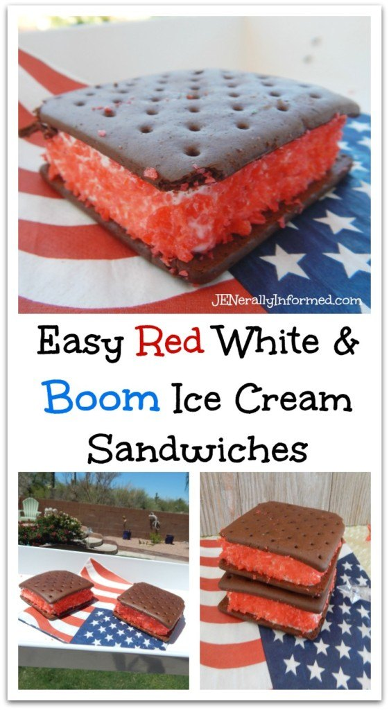 Red, white & boom ice cream sandwiches! A cool summertime treat with a surprise!