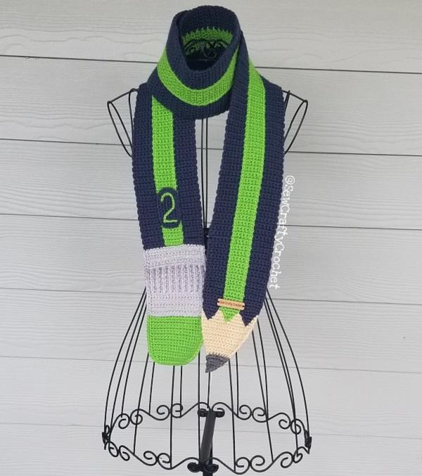 Seahawks Pencil Scarf from Sew Crafty Crochet.