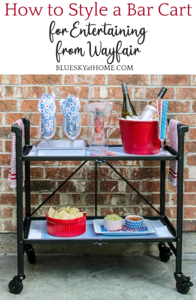 How to Style a Bar Cart for Entertaining Sponsored by Wayfair from Bluesky at Home.