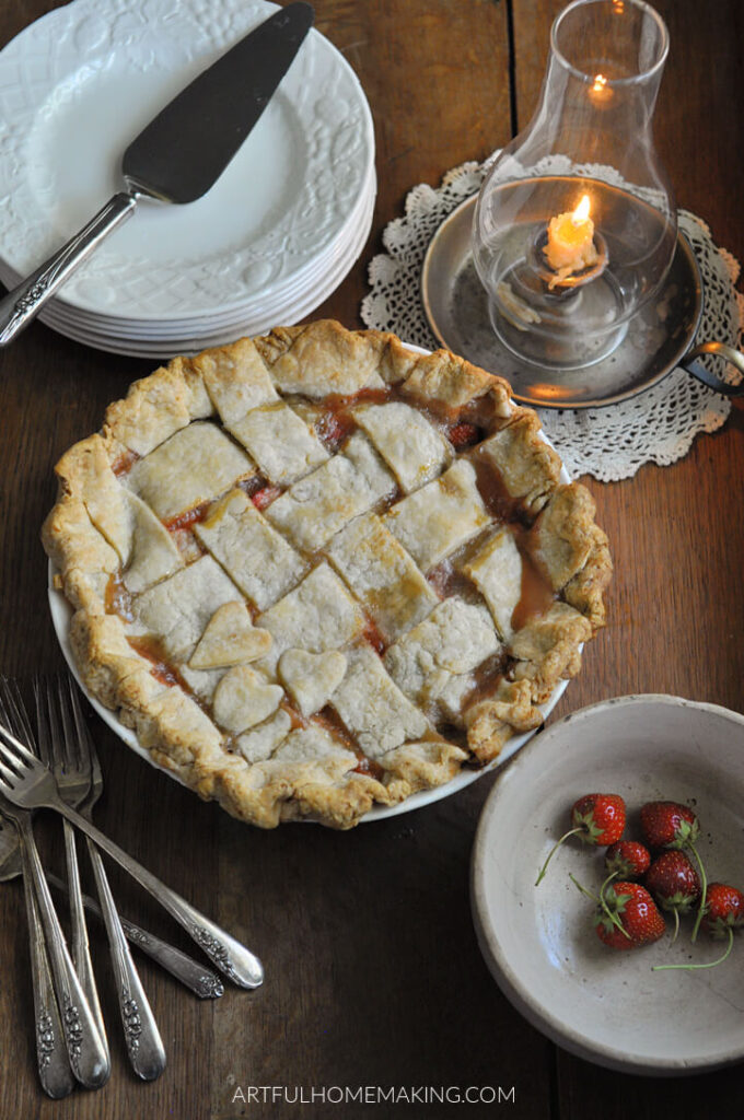Rustic Strawberry Pie Sweetened with Honey from Artful Homemaking.