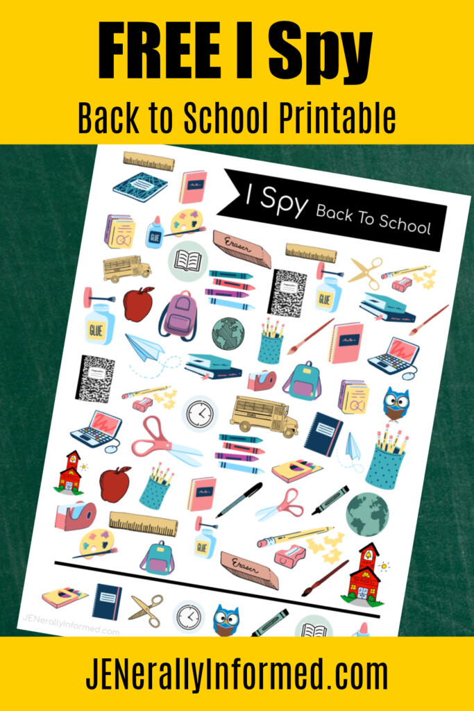It's almost time! Grab this FREE and adorable JENerally Informed #backtoschool ISpy #printable #kidsactivities!
