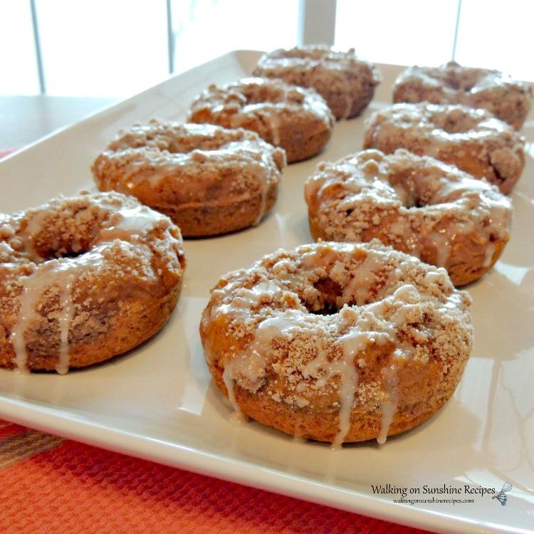 Pumpkin Glazed Donuts with Crumb Topping from Walking On Sunshine.