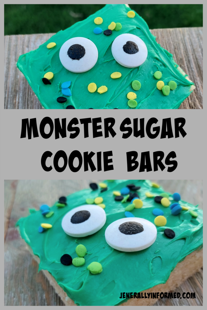 Get ready for #Halloween with these super easy to make and delicious monster sugar cookie bars that all your ghouls and ghasts will enjoy!